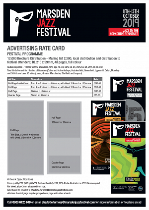 Marsden Jazz Festivals Advertising Rate Card 2019